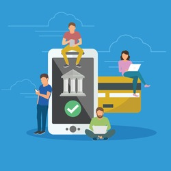 Mobile banking concept illustration of people using app for money transfering, accounting and online banking. Flat men and women standing near big smartphone with credit card and bank icon on screen.