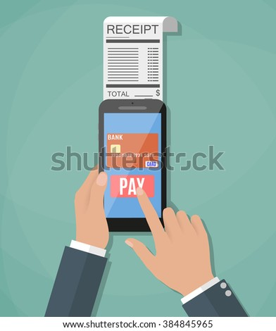 Mobile banking or shopping concept. cartoon hands with smart phone and paycheck receipt. Flat design, vector illustration in flat design on green background #384845965