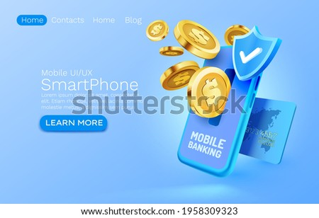 Mobile banking service, financial payment Smartphone mobile screen, technology mobile display light. Vector illustration