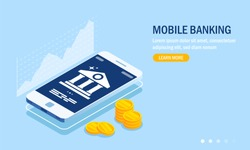 Mobile banking web site template. Currency rate chart. Bank icon on smartphone screen. Gold coins or money. Vector illustration in 3d isometric style.