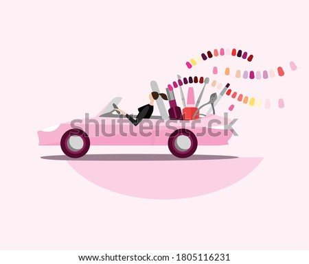 Mobile beauty salon. Manicure in your place. Hands and nail treatment on wheels. House-call pedicure service. Vector illustration in a cartoon style isolated on light background. Stok fotoğraf ©