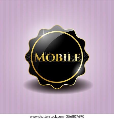 Mobile black emblem or badge, modern style
