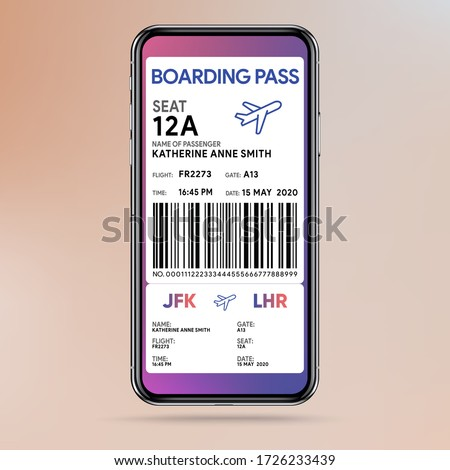 Mobile boarding pass. E-ticket for flight. Passenger card in smartphone. Departure and arrival data. Airline app. Avia route template mockup. Vector illustration. Photo stock ©