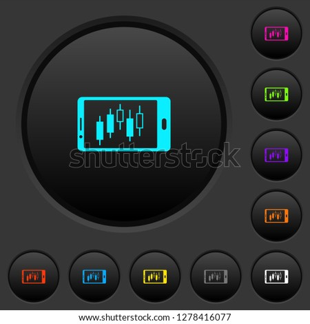 Mobile broker landscape mode dark push buttons with vivid color icons on dark grey background