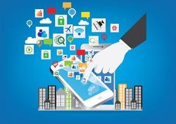 Mobile business technology vector design