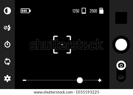 Mobile camera app ui. Viewfinder interface for smartphone cam application with shot, gallery, contrast, flash, timer, settings, cameras switcher and photo or video buttons. Vector template