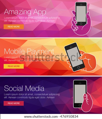 Mobile cell phone for banner, presentation, website. Minimal banner of mobile screen app. Vector background of banner for mobile phone cell. Vector background banner of mobile phone. Minimal banner