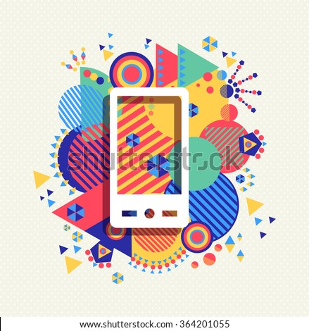 Mobile cell phone icon app poster illustration with colorful vibrant geometry shapes background. Social media concept. EPS10 vector.