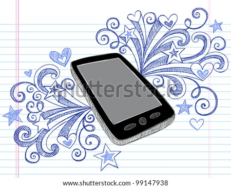 Mobile Cell Phone PDA Sketchy Hand-Drawn Notebook Doodles with Swirls, Hearts, and Shooting Stars- Vector Illustration Design Elements on Lined Sketchbook Paper Background