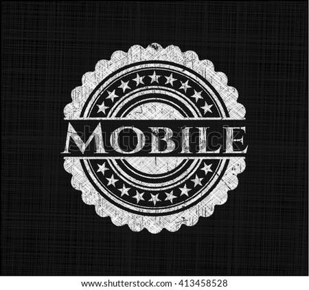 Mobile chalk emblem written on a blackboard
