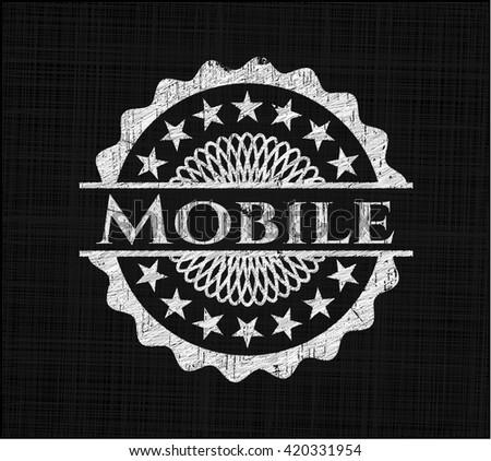Mobile chalkboard emblem on black board