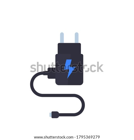Mobile charger isolated on white, vector Stockfoto ©