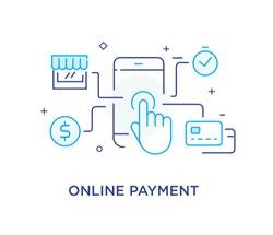 Mobile commerce, online shopping. Success, achieving goals, pride. Vector illustration Eps 10 file. Success Line icon illustration
