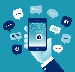 Mobile Communication. Concept business vector illustration