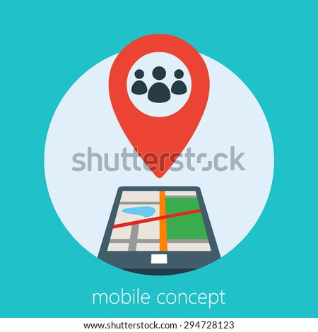mobile concept of a geo location of people in a smart phone
