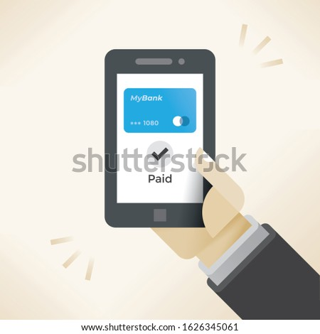 Mobile contactless payment and digital wallet service application smartphone screen and Paid text successful transaction completed. Concept: innovations, purchases, Apple, Samsung, Google Pay shopping