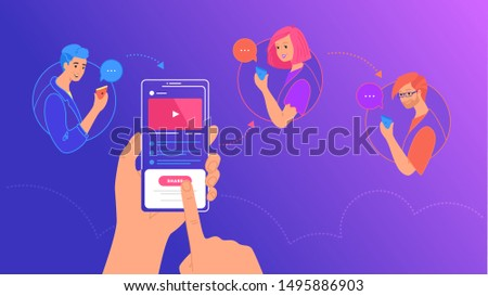 Mobile content sharing to friends concept vector illustration of young people using mobile smartphone to share posts in social media. Flat human hand holds smart phone and reposting video to friends
