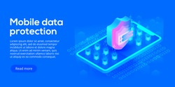 Mobile data security isometric vector illustration. Online payment protection system concept with smartphone and credit card. Secure bank transaction with password verification via internet.