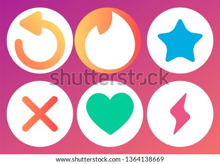 Mobile Dating App Tinder UI and UX Alternative Trendy Concept Vector. Tinder icons Isolated on  Background. Tinder Social Network Design icon