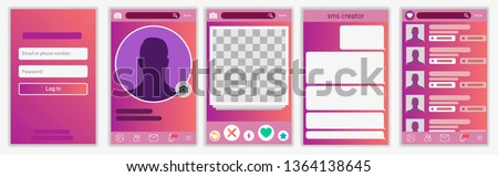 Mobile Dating App UI and UX Alternative Trendy Concept Vector Mockup in Light Color Theme on Frameless Smart Phone Screen Isolated on White Background. Social Network Design Template