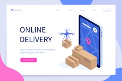 Mobile delivery concept. Can use for web banner, infographics, hero images. Flat isometric modern vector illustration.