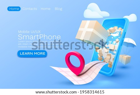 Mobile delivery service, package delivery is all over the place, Smartphone mobile screen, technology mobile display light. Vector illustration