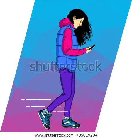Mobile dependence. Woman with their gadgets. Vector illustration in a flat style with icons of app.  Woman walking and looking at phone