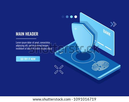 Mobile device access with fingerprint system, online payment with touch, shield credit card icon isometric vector