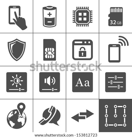 Mobile device settings icons. Tablet PC and smart phone control buttons. Simplus series. Vector illustration