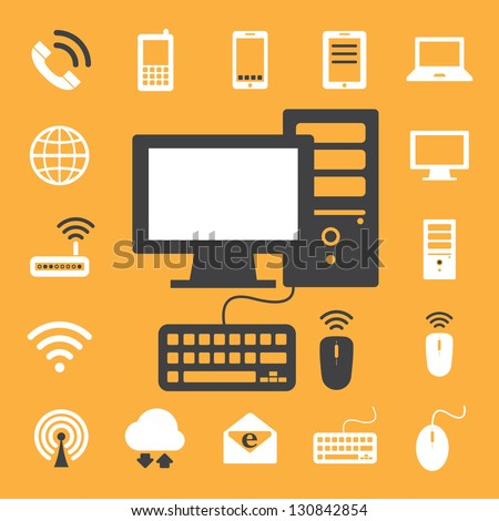 Mobile devices , computer and network connections icons set. Illustration eps 10