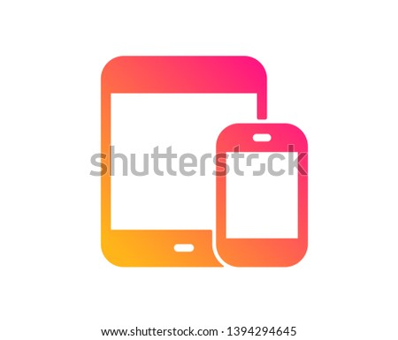 Mobile Devices icon. Smartphone and Tablet PC signs. Touchscreen gadget symbols. Classic flat style. Gradient mobile devices icon. Vector