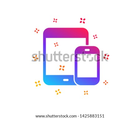 Mobile Devices icon. Smartphone and Tablet PC signs. Touchscreen gadget symbols. Dynamic shapes. Gradient design mobile devices icon. Classic style. Vector