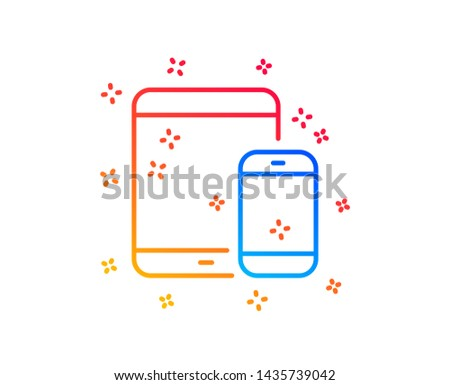 Mobile Devices icon. Smartphone and Tablet PC signs. Touchscreen gadget symbols. Gradient design elements. Linear mobile devices icon. Random shapes. Vector