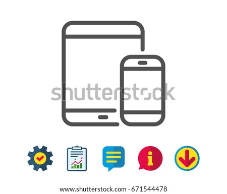 Mobile Devices icon. Smartphone and Tablet PC signs. Touchscreen gadget symbols. Report, Service and Information line signs. Download, Speech bubble icons. Editable stroke. Vector