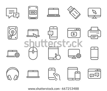 Mobile Devices line icons. Set of Laptop, Tablet PC and Smartphone signs. HDD, SSD and Flash drives. Headphones, Printer and Mouse symbols. Chat speech bubbles. Quality design elements. Vector