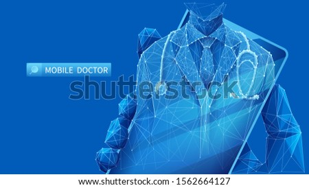 Mobile doctor. A young man in a coat with a stethoscope on the smartphone screen. The medical mobile app concept. A hand holds the phone with the medical staff. Low poly wireframe vector illustration.