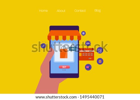 Mobile e-commerce, E-commerce marketing, Online shopping - flat design vector with icons isolated on bright background