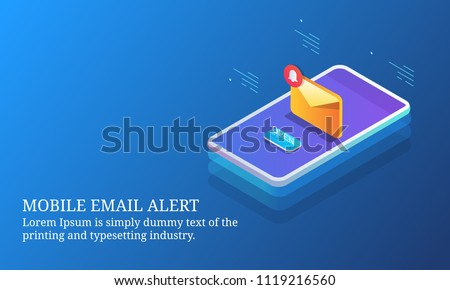 Mobile email alert, email notification, mobile marketing app - 3D isometric design conceptual banner