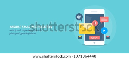 Mobile email notification, email application, marketing, message alert flat vector conceptual illustration with icons