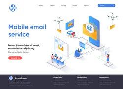 Mobile email service isometric landing page. Email smartphone app, social network messaging isometry concept. Online people communication software web page. Vector illustration with people characters.