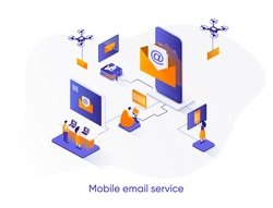 Mobile email service isometric web banner. Email smartphone app isometry concept. Social network messaging 3d scene, online people communication flat design. Vector illustration with people characters