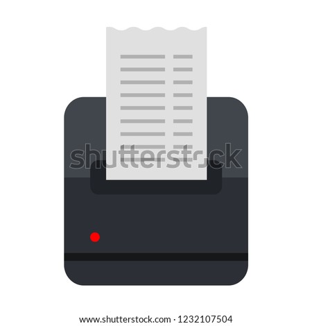 Mobile fiscal printer mobile for off-site trade flat single icon vector isolated on white