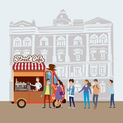 Mobile food Van, Coffe Food Truck vector, barista salesman, characters, men and women stand in line for coffee, and snacks, illustration, Coffee and desserts truck, vector, cartoon style