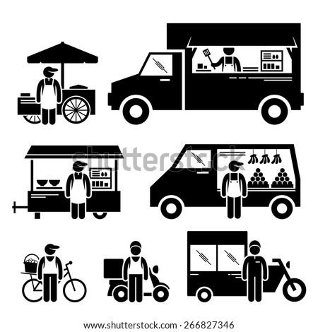Mobile Food Vehicles Lorry Truck Van Wagon Bicycle Bike Cart Stick Figure Pictogram Icons Foto stock ©