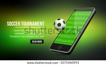 Mobile football app design. Soccer banner for mobile online technology.