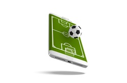Mobile football soccer. Mobile sport play match. Online soccer game with live mobile app. Football field on the smartphone screen and ball. Online ticket sales concept.