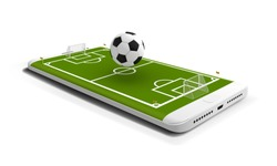 Mobile football soccer. Mobile sport play match. Online soccer game with live mobile app. Football field on the smartphone screen and 3d ball. Online ticket sales concept.