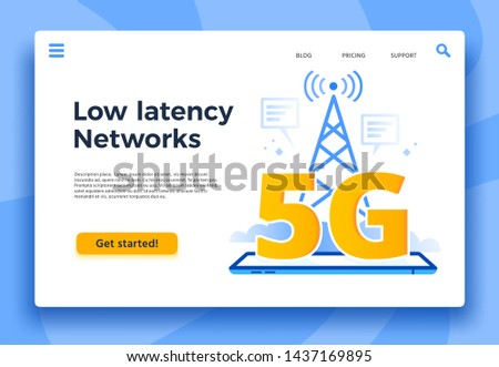 Mobile 5G landing page. Fast internet connection, low latency networks and communication network coverage. High speed lte iot internet, global wireless networking vector illustration