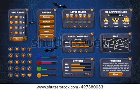 Mobile game graphical user Interface GUI. Design, buttons and icons. Vector illustration. Easy to edit.