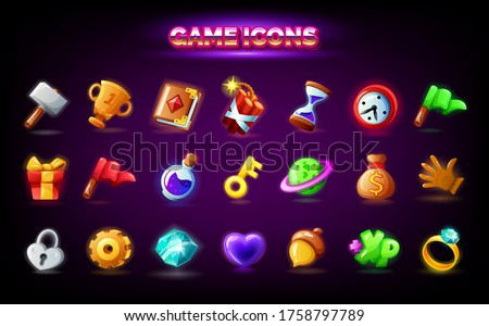 Mobile game icons set. GUI elements for mobile app, vector illustration in cartoon style - Spell book, gift, key, acorn, gear settings, red finish flag, clock alarm time, purple magic potion Stockfoto ©